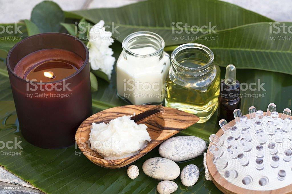 Spa ingredients (oil, creme ,scrub) stock photo