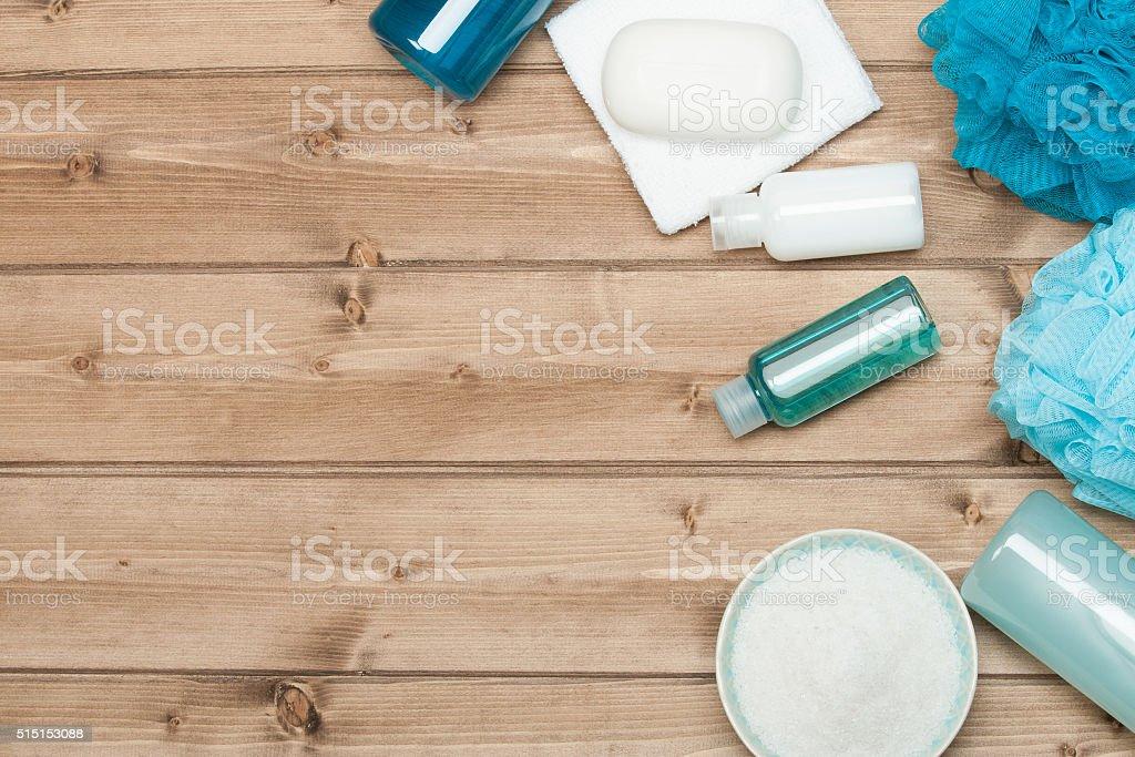 Spa Kit. Top View. Shampoo, Soap Bar And Liquid. Shower stock photo