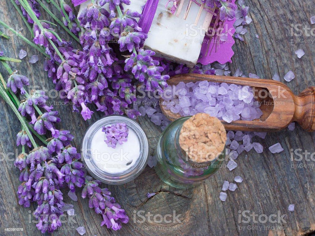 spa lavender arrangement stock photo