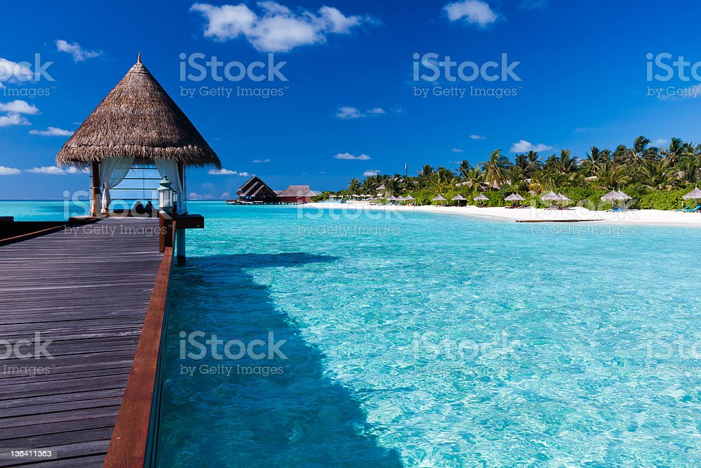 Spa located on pier in the lagoon around tropical island stock photo