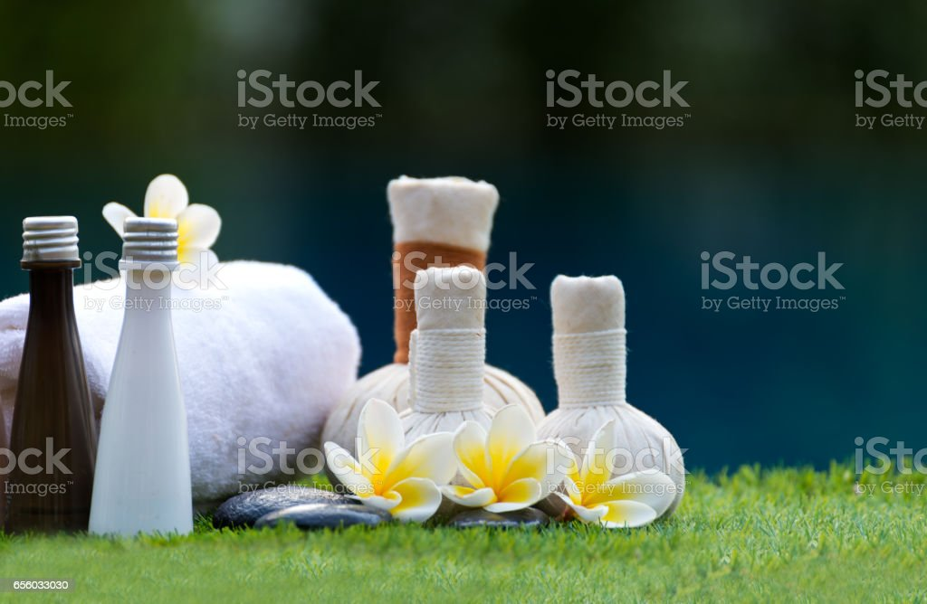 Spa massage compress balls, herbal ball and treatment  spa, Thailand, select focus stock photo