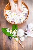 Spa massage compress balls, herbal ball on the wooden.