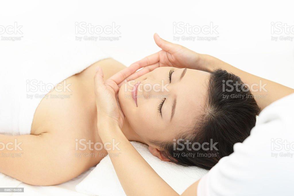 Spa massage for beautiful woman stock photo