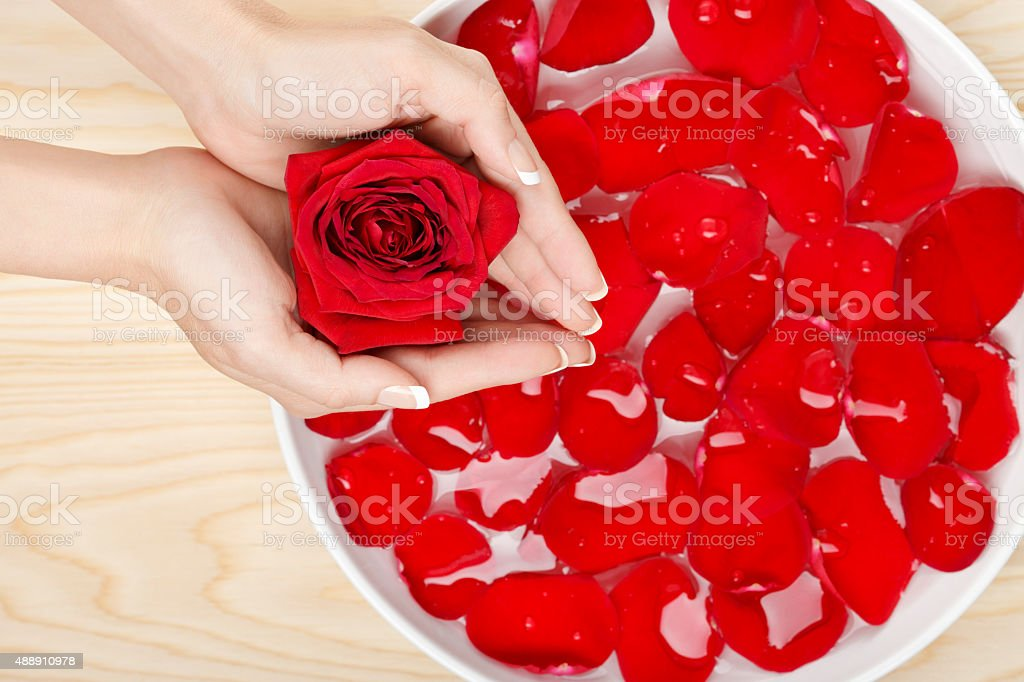 Spa Natural Hand Care with Red Roses Wood Background royalty-free stock photo