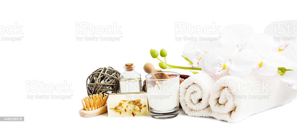 Spa orchid and products on white background stock photo