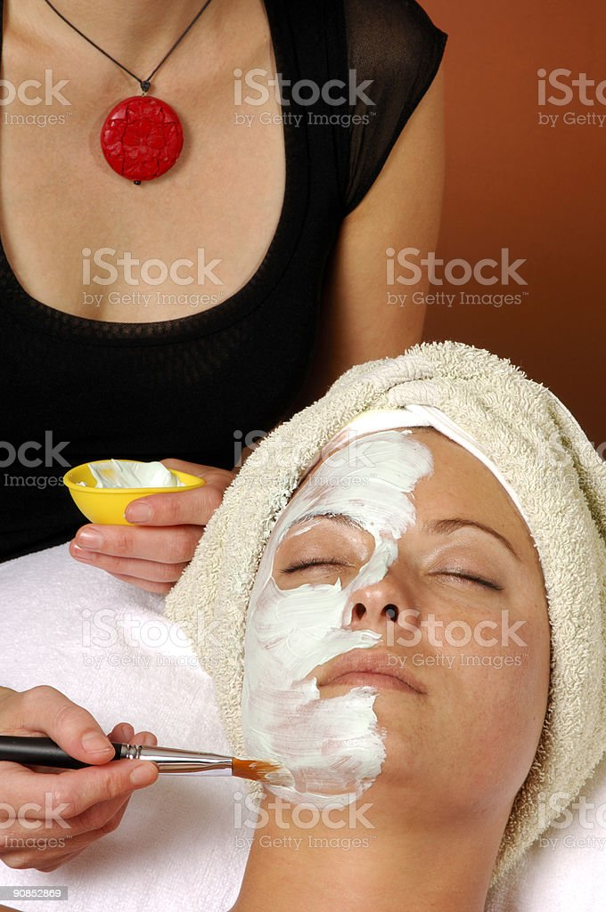 Spa Organic Facial Masque Applied by Esthetician royalty-free stock photo