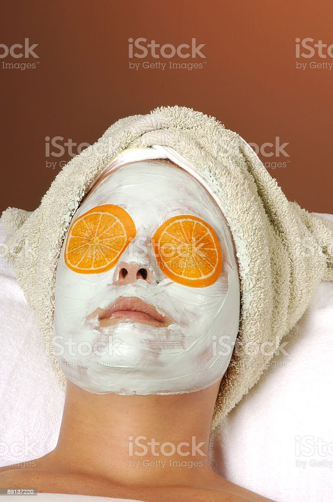 Spa Organic Facial Masque with Orange Eye Pads royalty-free stock photo