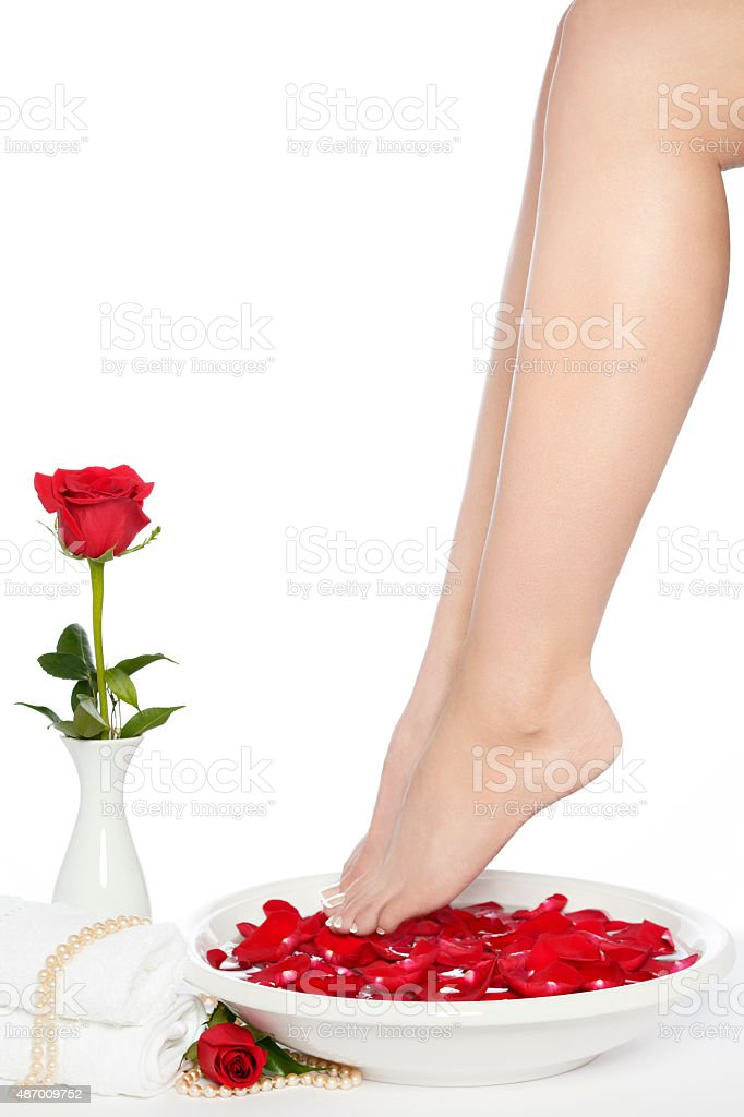 Spa Pedicure Feet with Ceramic White Bowl and Red Rose royalty-free stock photo