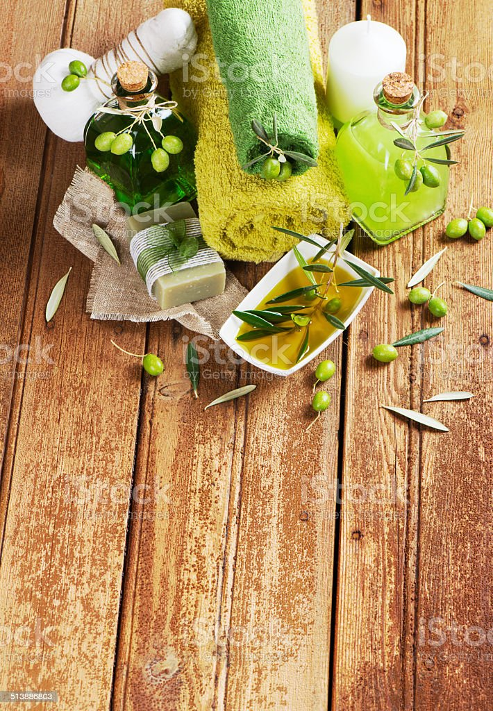 Spa products of green olive, top view. stock photo