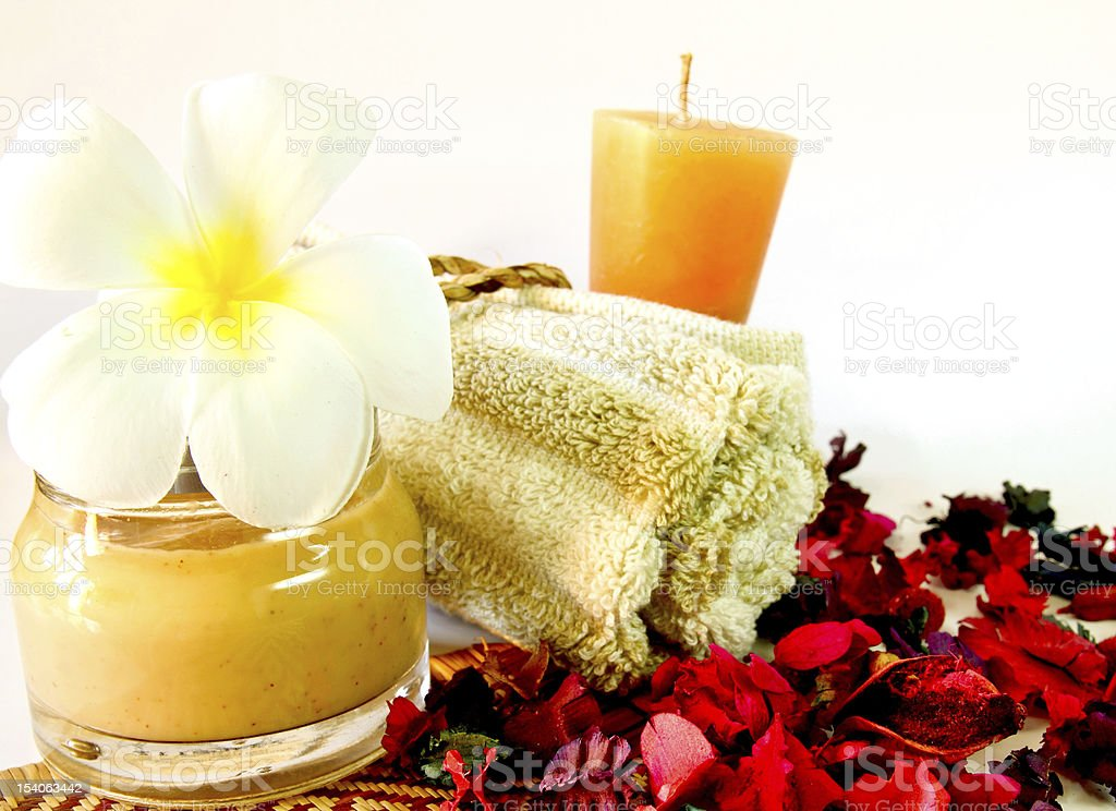 Spa products with flowers royalty-free stock photo