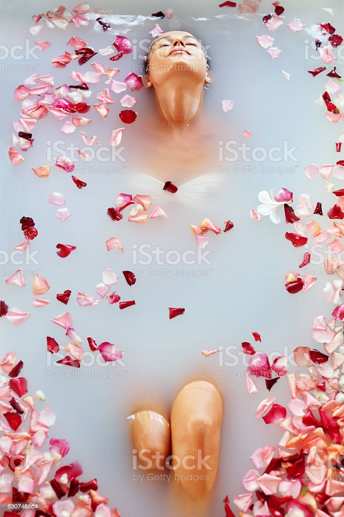 Spa Relax Flower Bath. Woman Health, Beauty Treatment, Body Care stock photo