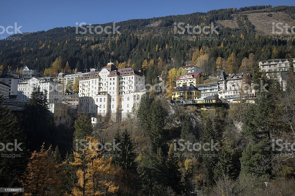 Spa resort in the Alps Fall royalty-free stock photo