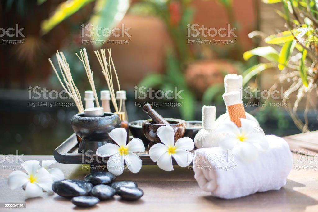 Spa scrub treatment and massage, Thailand, soft and select focus stock photo