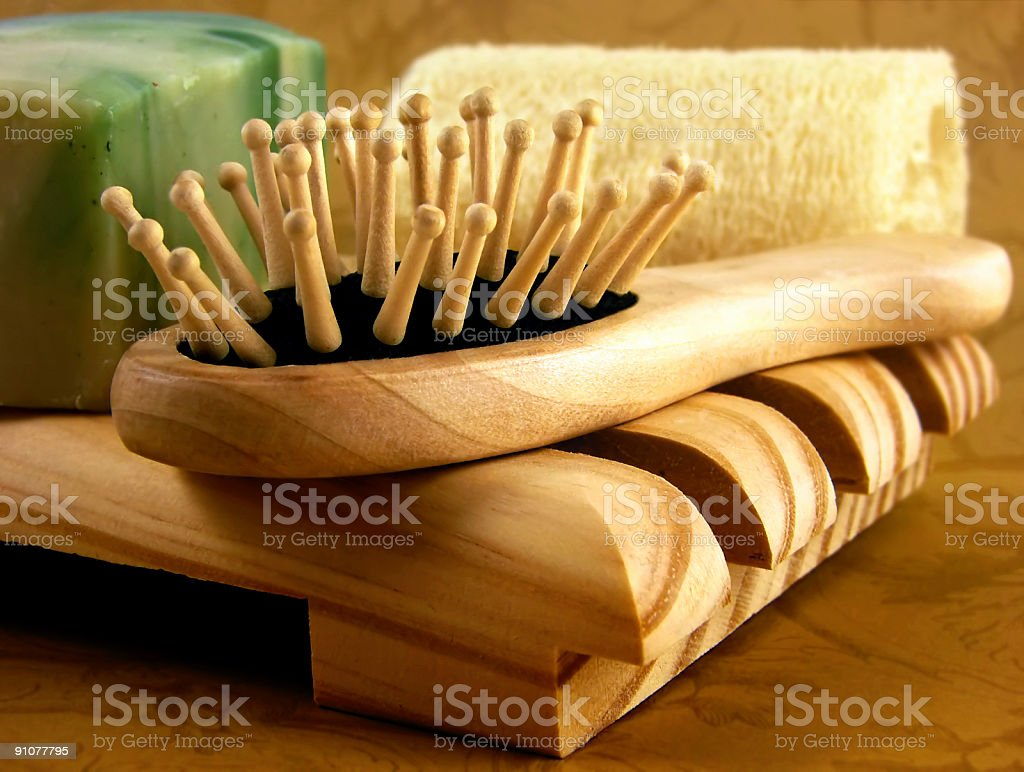 Spa Series - wooden brush royalty-free stock photo