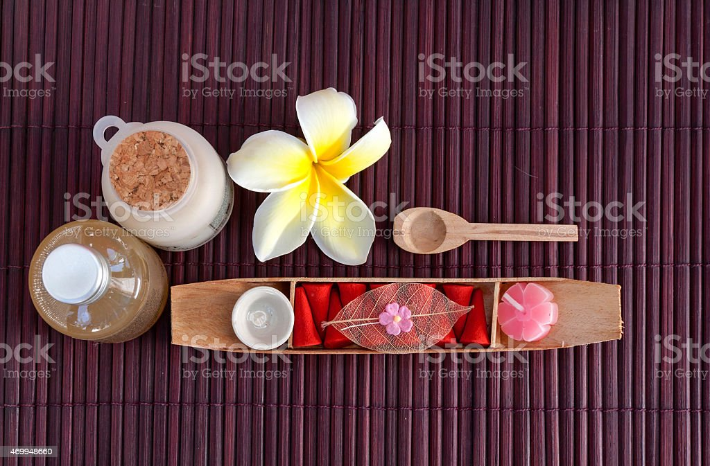 Spa set with fresh flower royalty-free stock photo