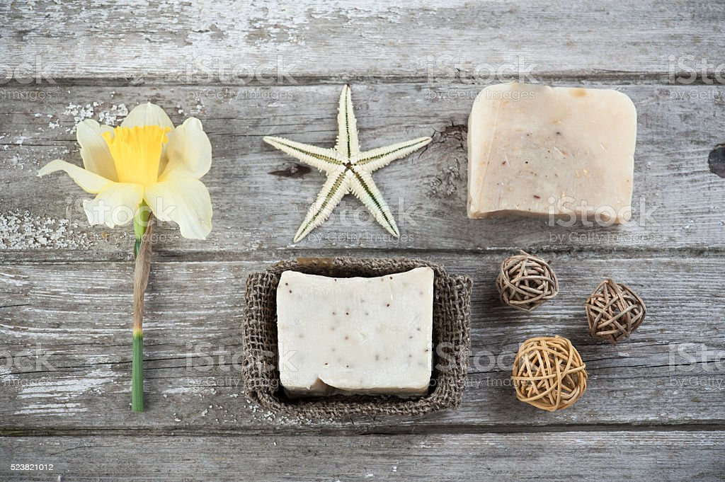 Spa set with handmade soap stock photo