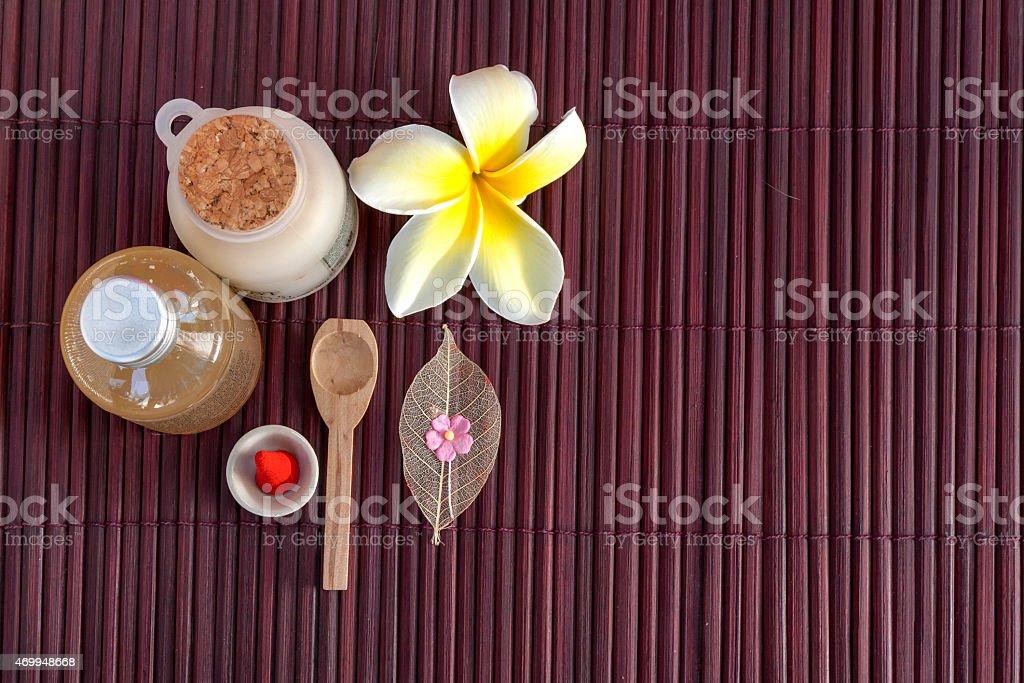 Spa set with Plumeria flower royalty-free stock photo