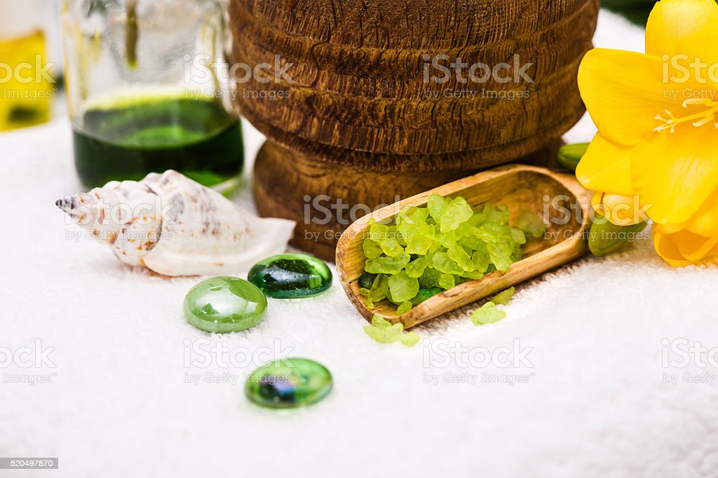 Spa setting with aroma oil, vintage style stock photo