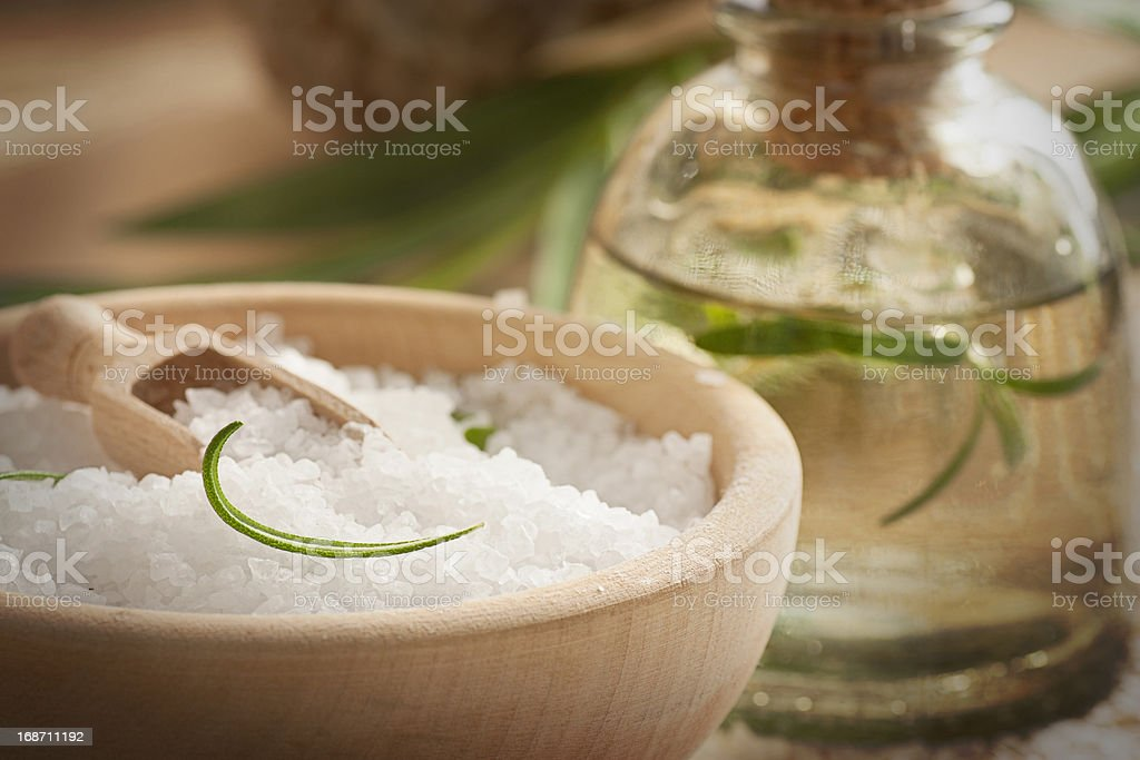 Spa setting with bath salt and soap royalty-free stock photo