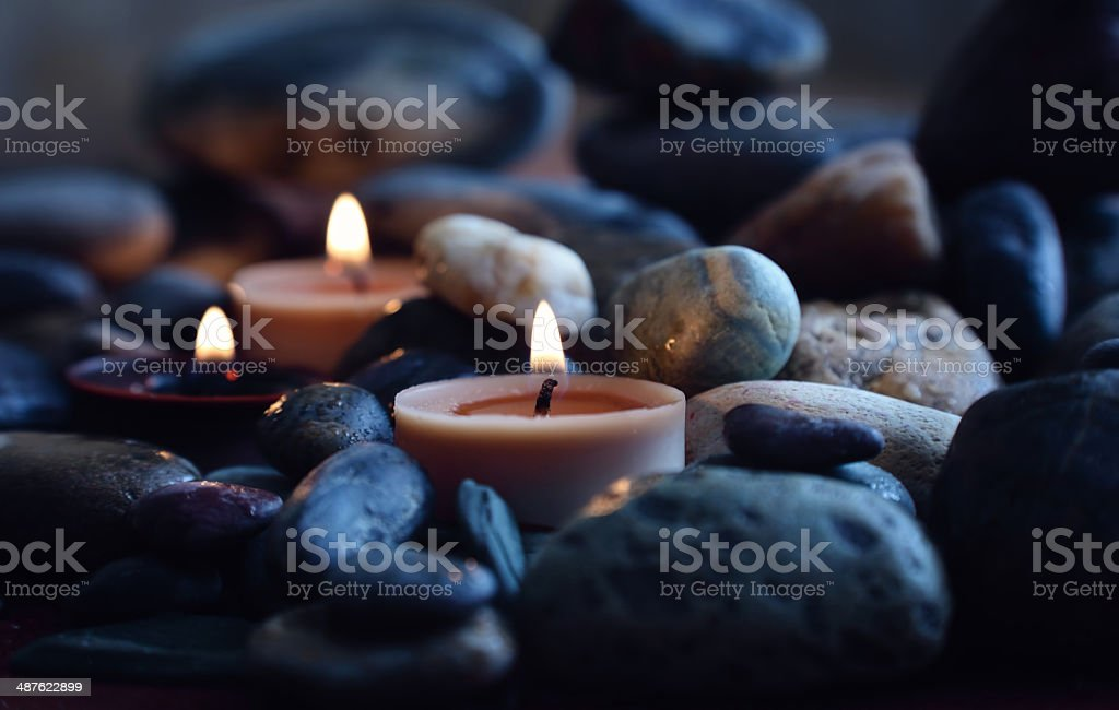 Spa setting with massage stones stock photo