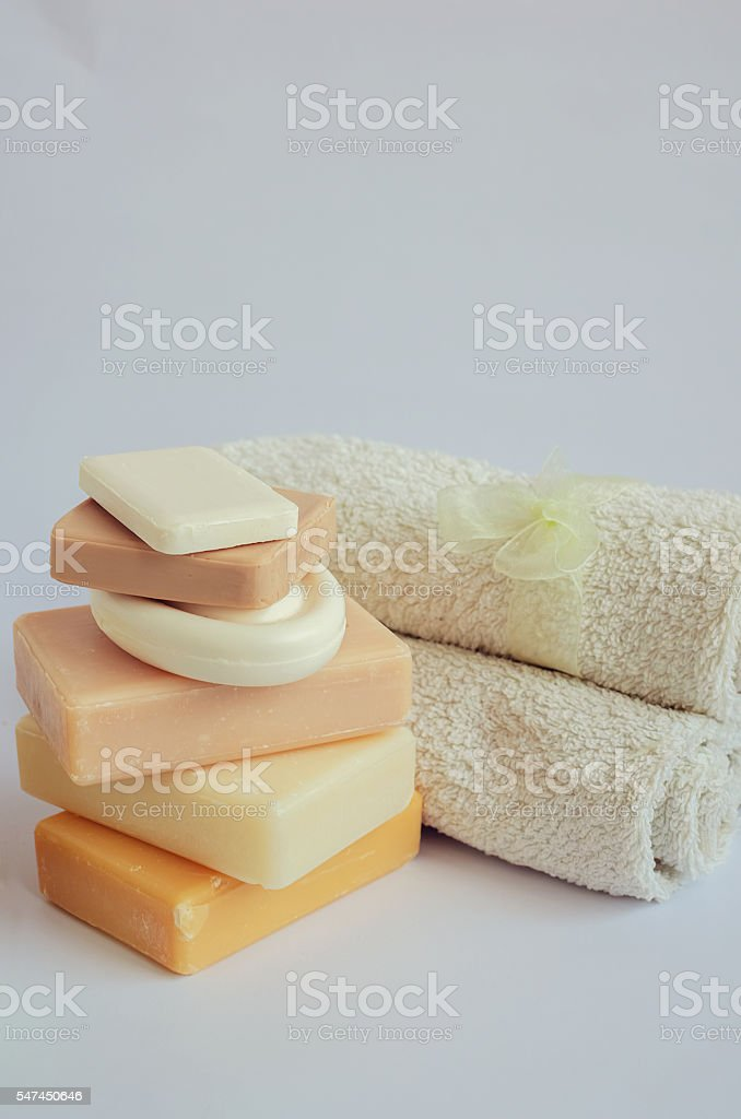 Spa setting with natural soaps stock photo