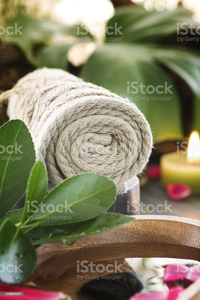 Spa setting with treatment water royalty-free stock photo