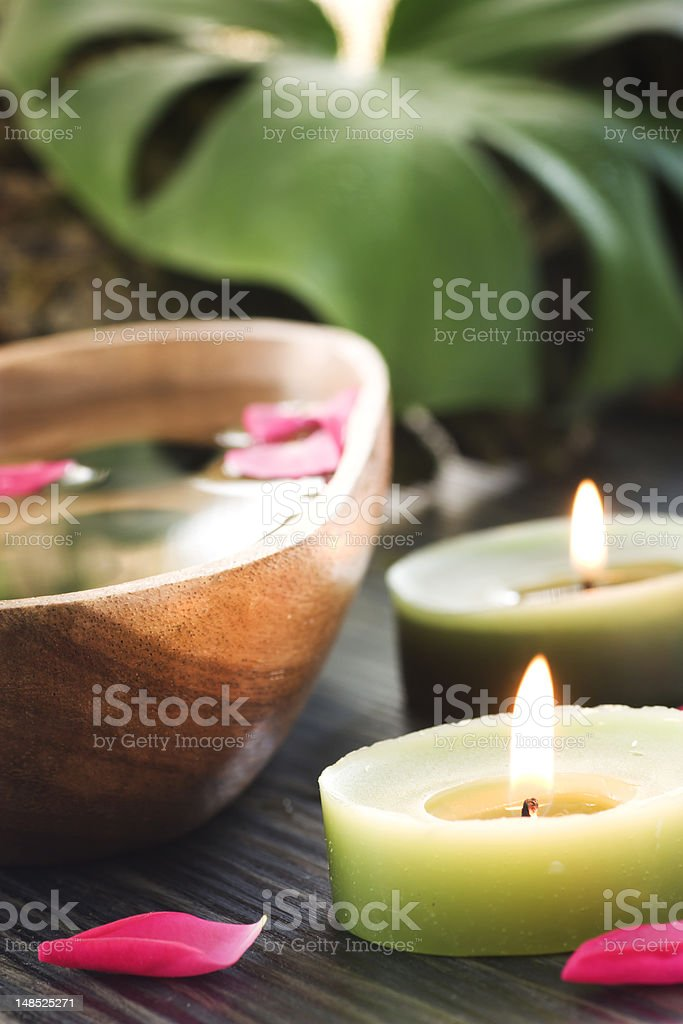 Spa setting with treatment water stock photo