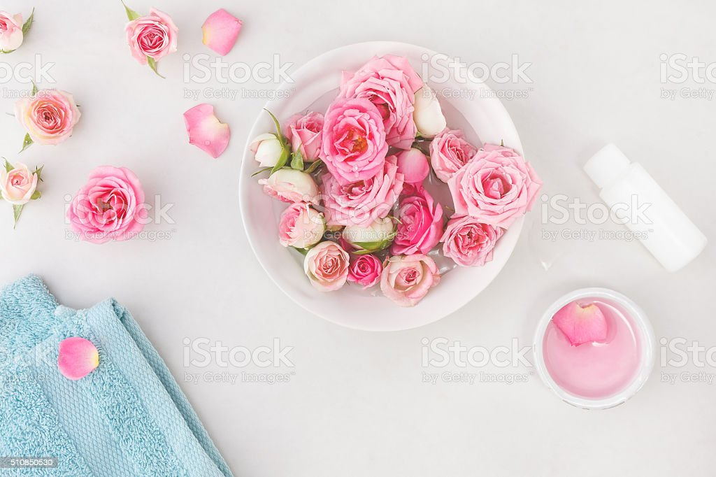 Spa settings with roses stock photo