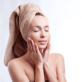 Spa skin care beauty woman wearing hair towel