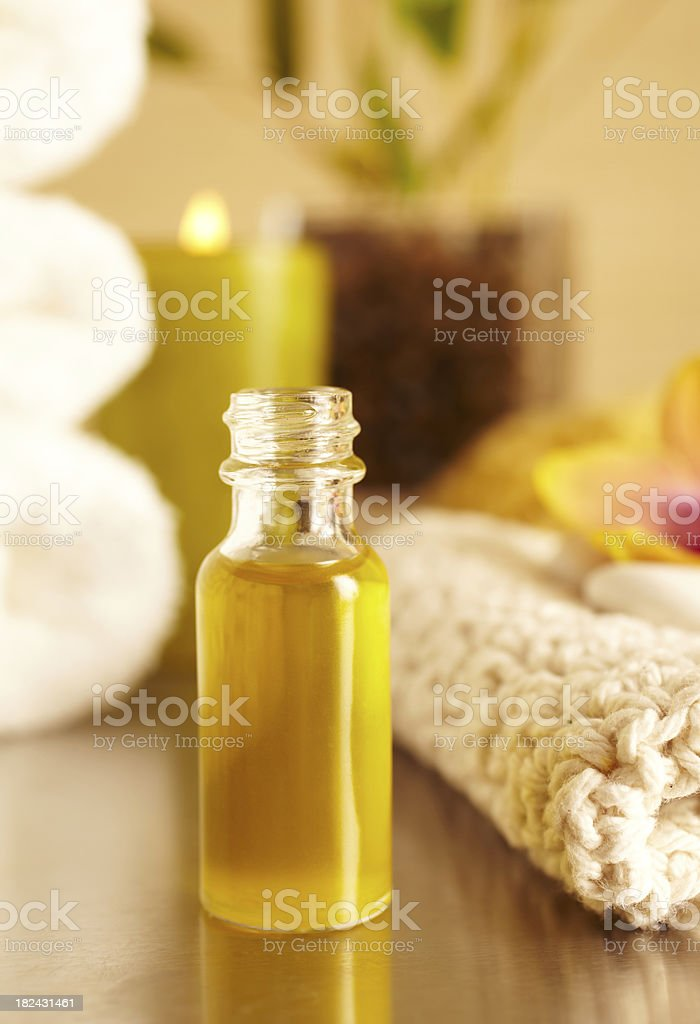 Spa still life bottle of essential oil in bathroom royalty-free stock photo