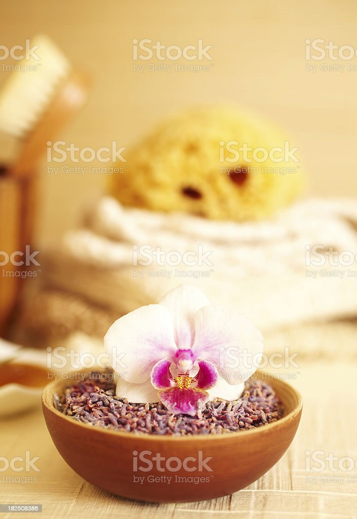 Spa still life of lavender flowers in bathroom royalty-free stock photo