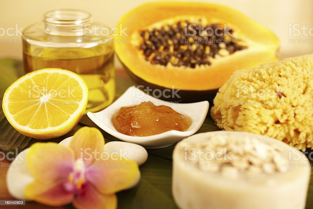 Spa still life of organic skincare products stock photo