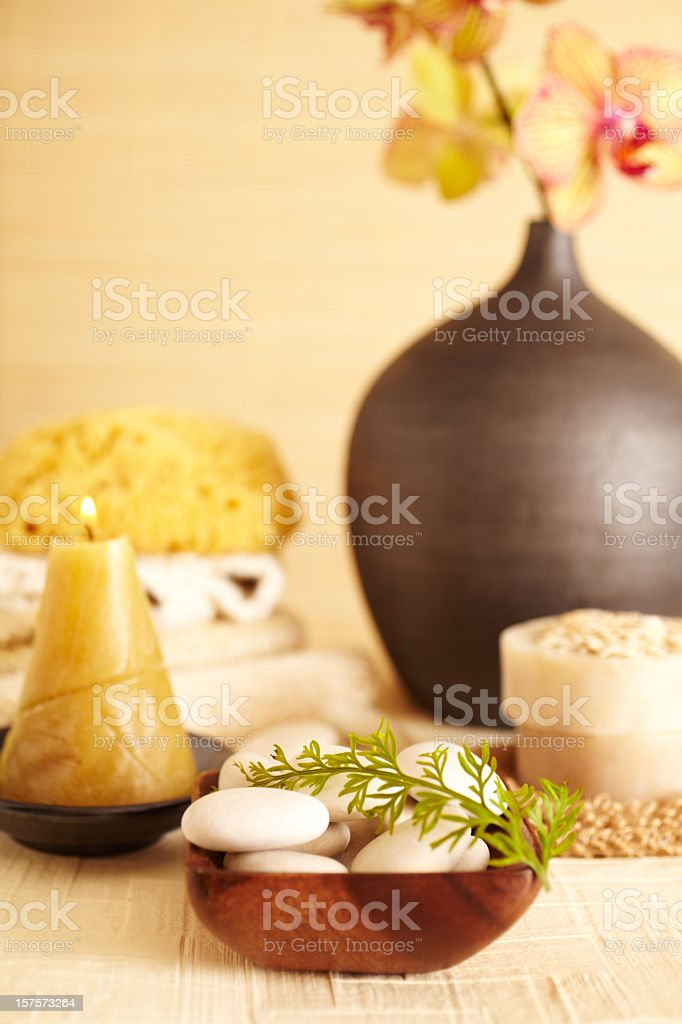 Spa still life white rocks with fern leaf and candle stock photo