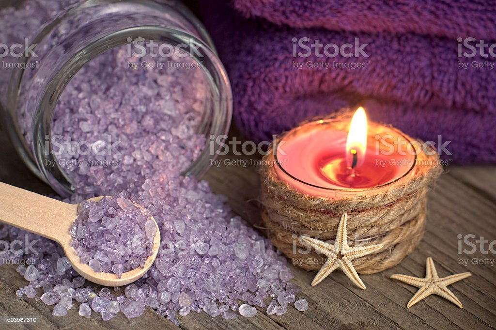 Spa still life with bath salt and starfishes stock photo