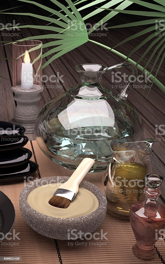 Spa still life with burning candle and clay mask. stock photo