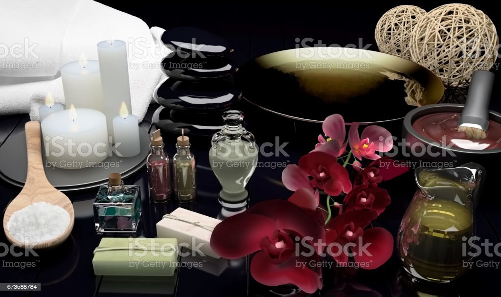 Spa still life with burning candles and flowers of an orchid. stock photo