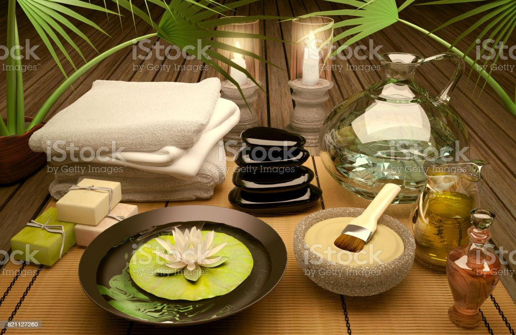 Spa still life with burning candles, clay mask and flower of an water...