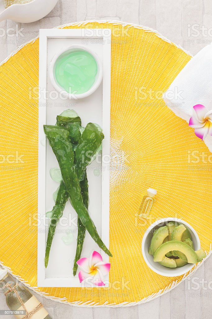 Spa still life with fresh natural ingredients stock photo