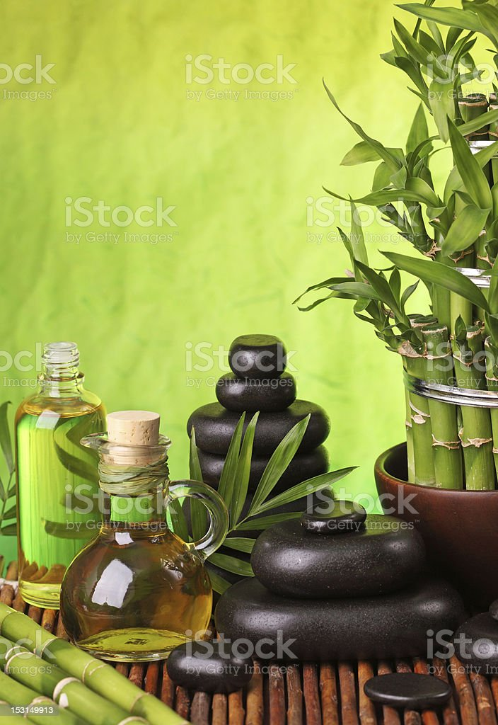 Spa still life with hot stones royalty-free stock photo