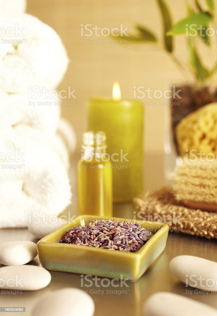 Spa still life with lavender, candle, essential oil royalty-free stock photo