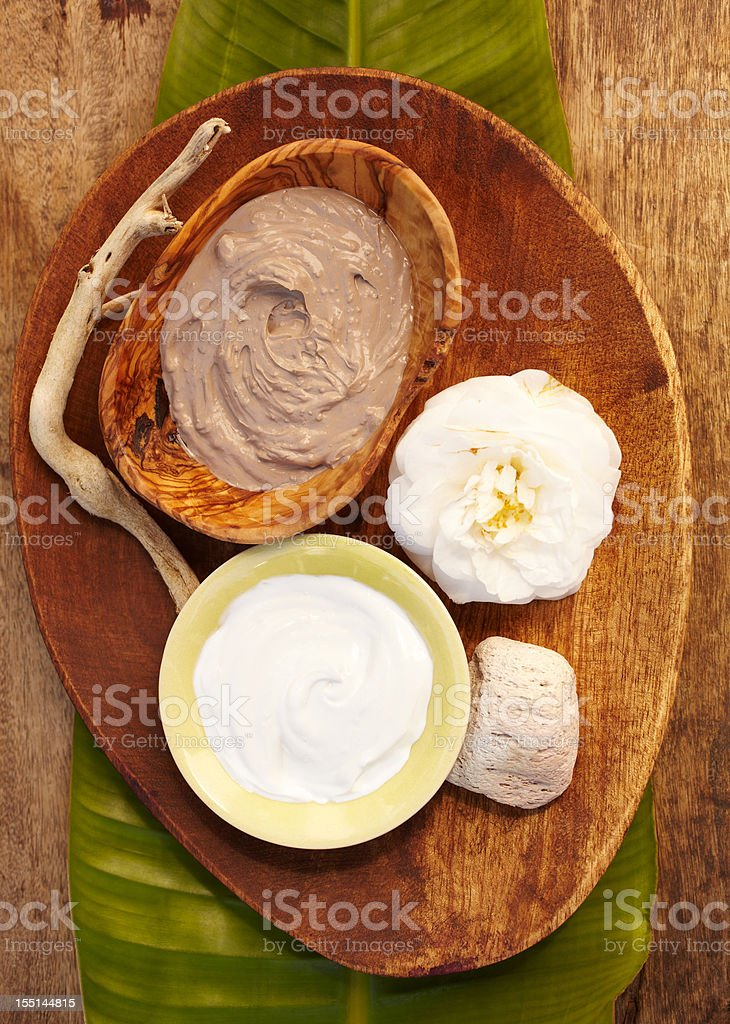 Spa still life with organic mud mask in a bowl royalty-free stock photo