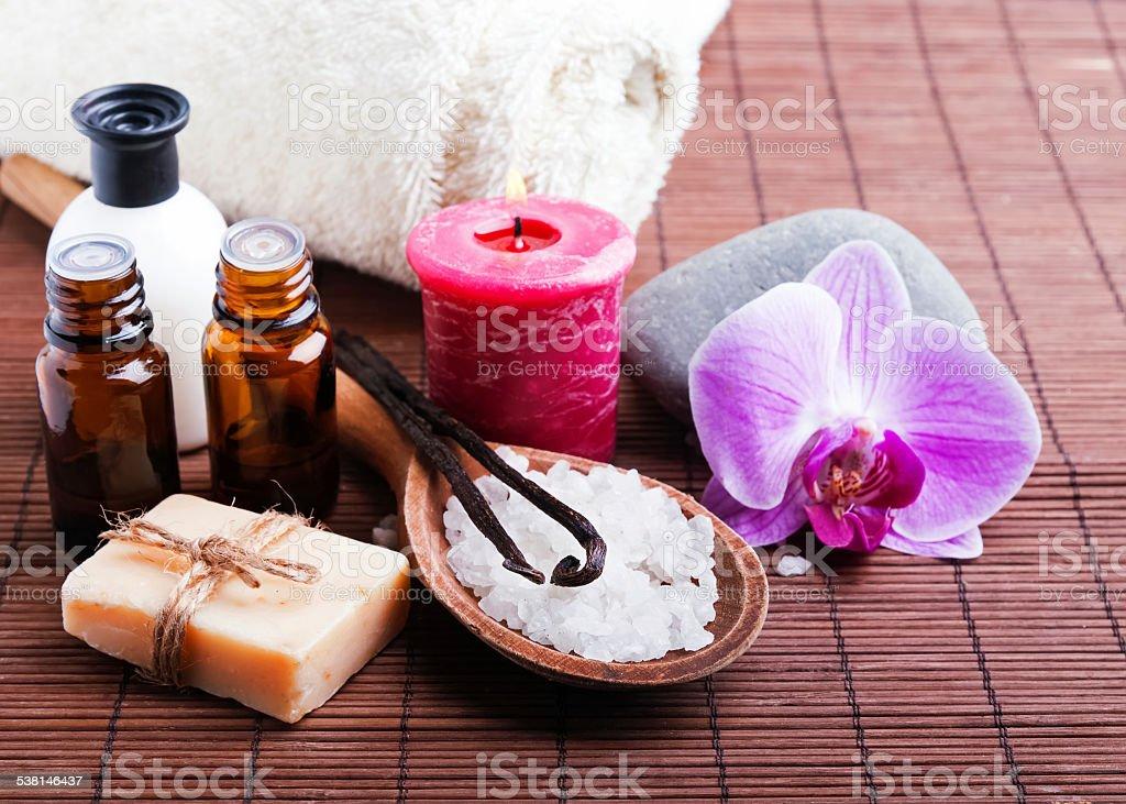 Spa still life with vanilla pods stock photo
