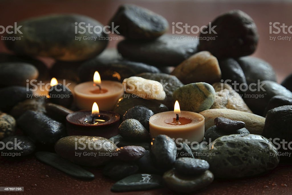 spa stones and candle stock photo