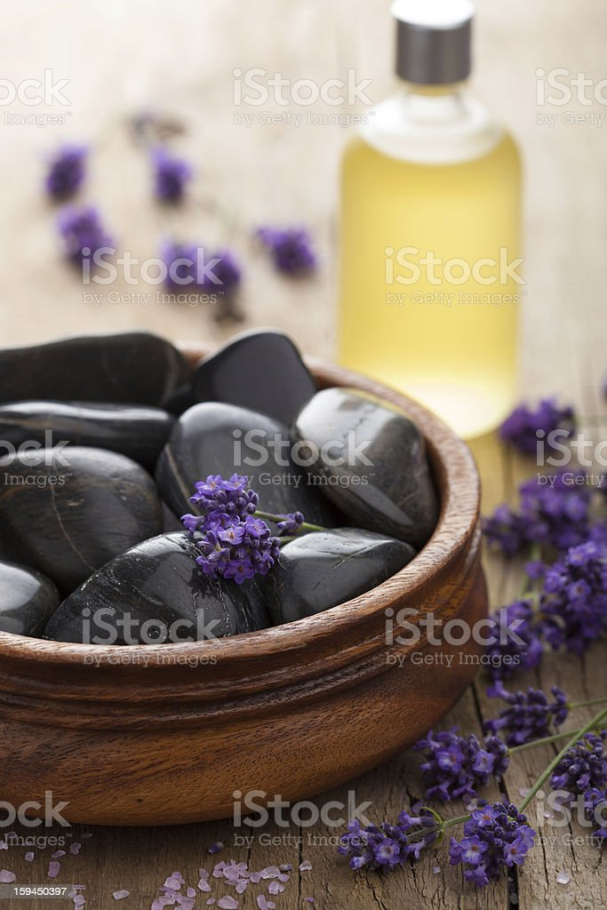 spa stones salt and lavender oil royalty-free stock photo