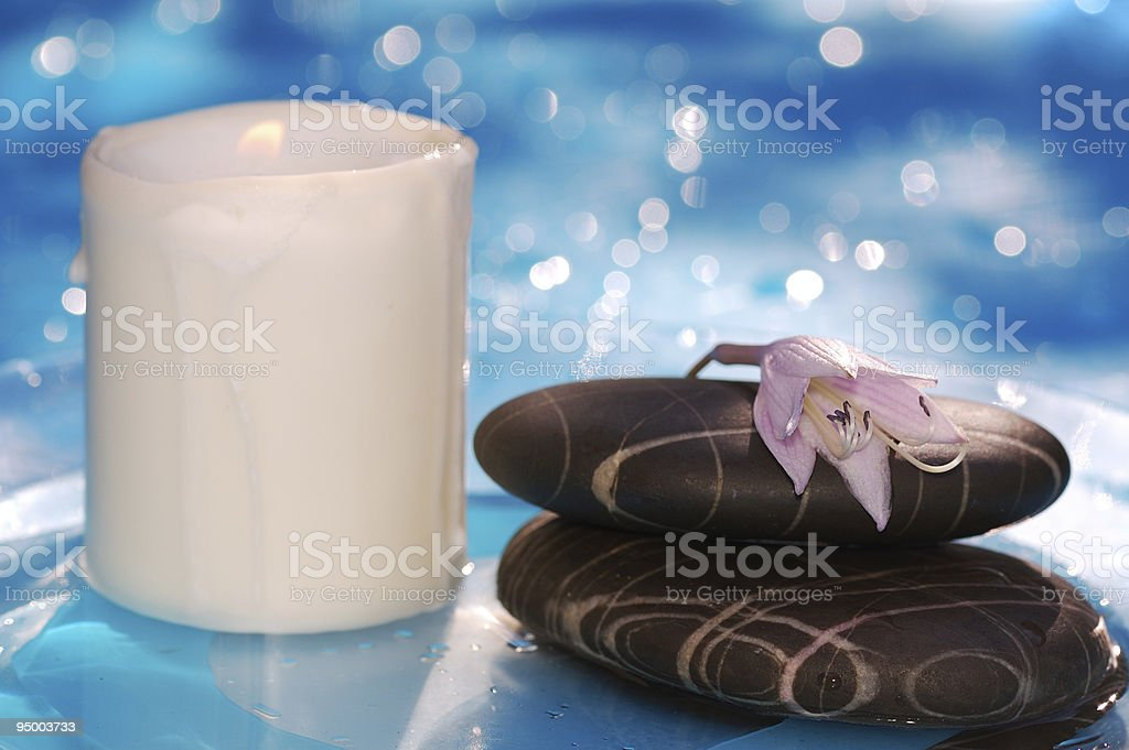 spa stones with candle stock photo