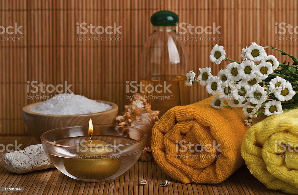Spa style Towel with flower royalty-free stock photo