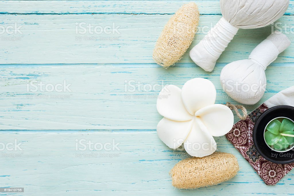 spa theme object on wood background stock photo