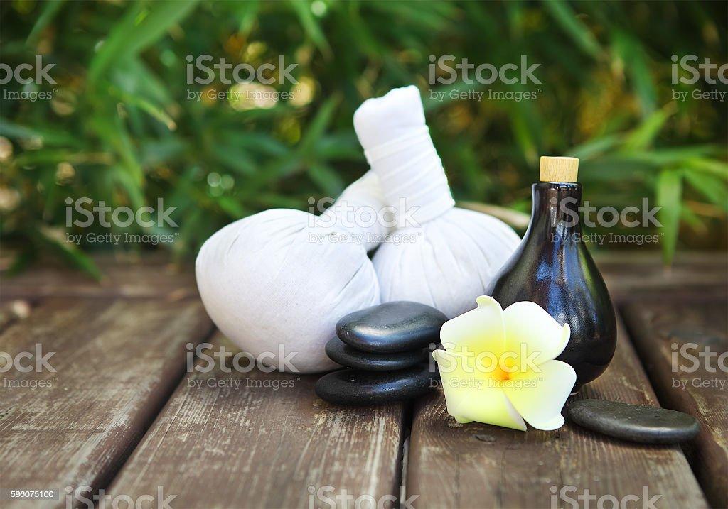 Spa theme objects with frangipani flower stock photo