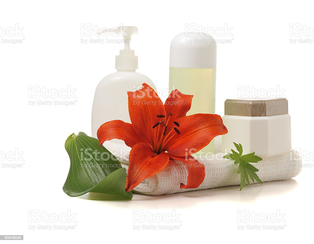 spa  theme with red lily royalty-free stock photo