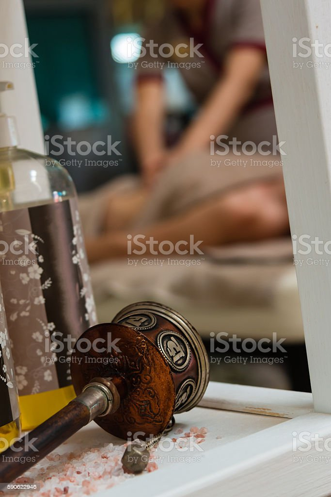 Spa Themes Object with Bath Salt and Aromatherapy Oil, Masseuse stock photo